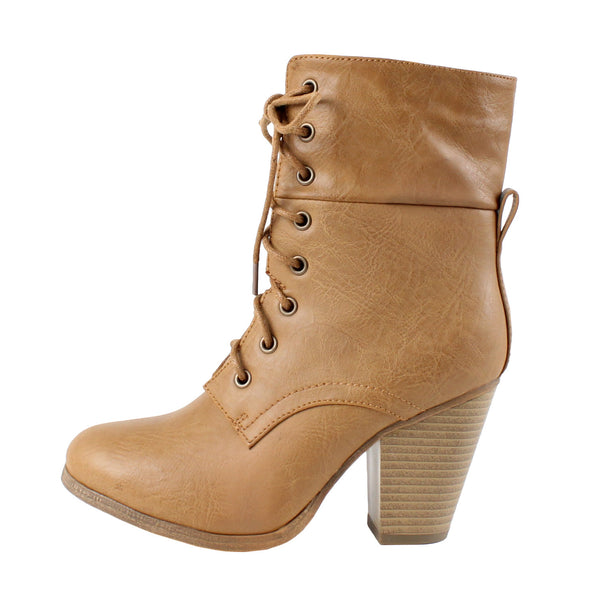 Sierra-1 Lace Up Chunky High Heel Ankle Boots