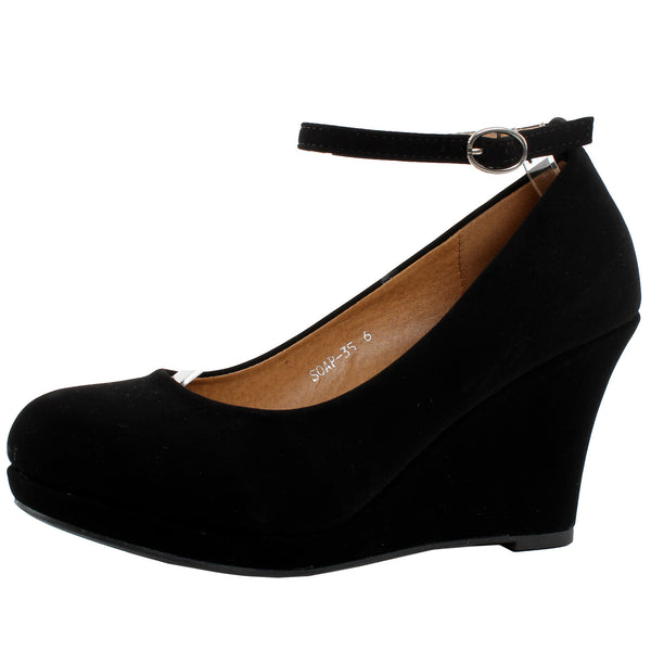 Soap-35 Ankle Strap Wedge Pumps