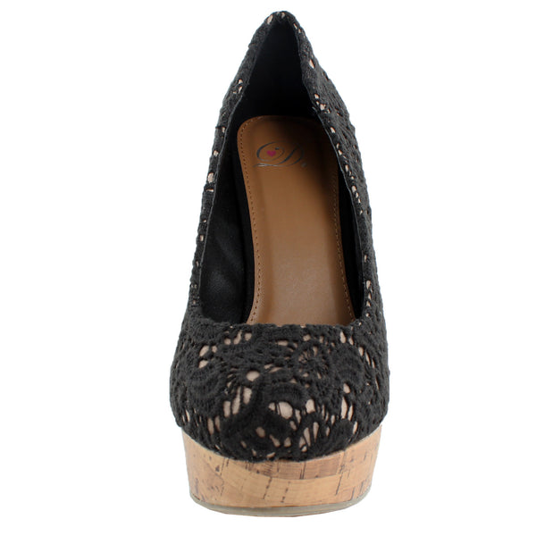Sure-As Lace Faux Cork Wedges