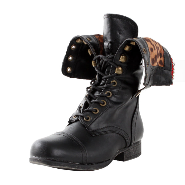Surprise-01N Leopard Cuffed Military Combat Boots
