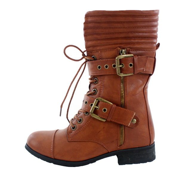 Susana-1 Buckle and Lace Mid-Calf Military Boots
