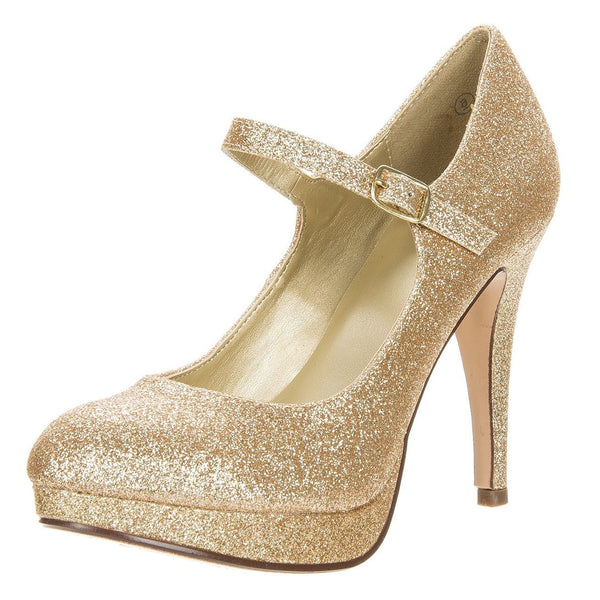Tie Glitter Round Toe Dress Pump Mary-Jane Strap Shoes