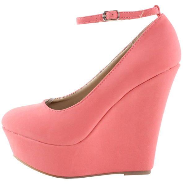 Trendy-29 Ankle Strap Platform Wedges