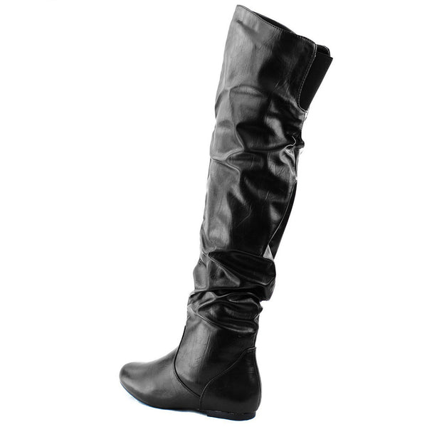 Vickie-Hi Faux Leather Thigh High Flat Boots