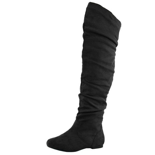 Vickie-Hi Slouchy Thigh High Flat Boots