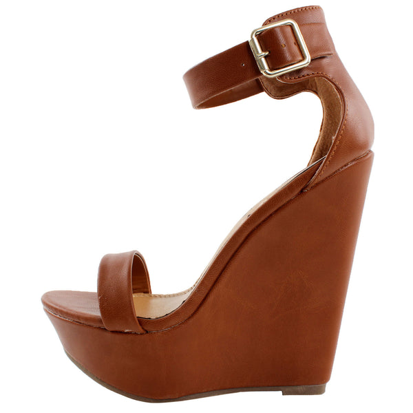 Vivi-21 Ankle Strap Open Toe Platform Wedge Sandals