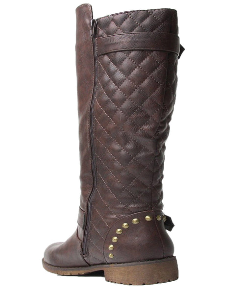 Vivienne-01 Studded Quilted Leatherette Buckle Round Toe Motorcycle Boots