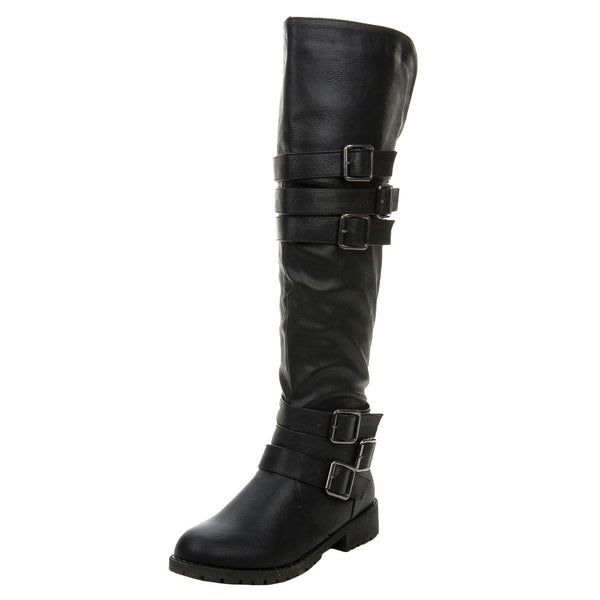 Vivienne-05 Tall Buckles Knee High Riding Boots