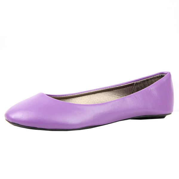 Slip On Leatherette Color Ballet Flats