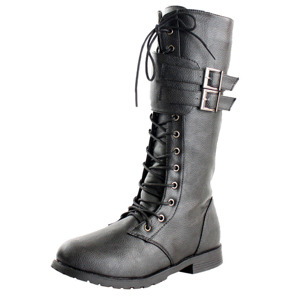 Manila Combat Boots Lace Up Military Motorcycle Biker Shoes