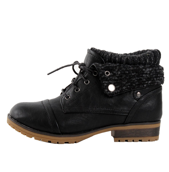 Wynne-01 Knit Cuff Lace-Up Work Combat Boots