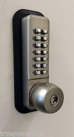All-Weather Mechanical Keyless Deadbolt Door Lock - Satin Nickle