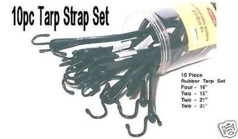 "10PC RUBBER TARP STRAP SET - 10"", 15"", 21"", 31"" LENGTHS"