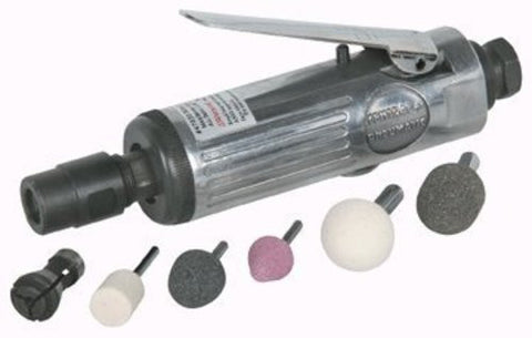 Compact Air Die Grinder Kit (with 1/8'' collet, 1/4'' collet, three aluminum oxide mounted grinding stones and two wrenches)