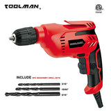 "Toolman Electric Power Drill Driver 3/8"" Variable Speed For Heavy Duty Corded"
