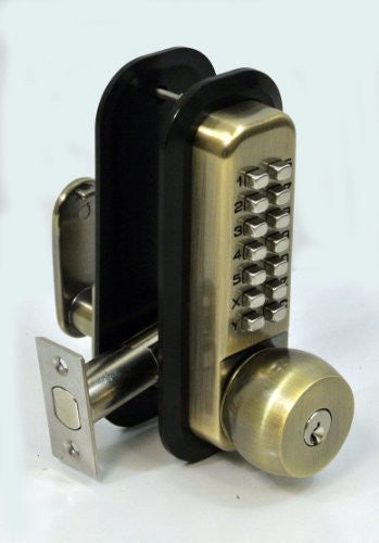 All Weather Mechanical Keyless Deadbolt Door Lock Antique