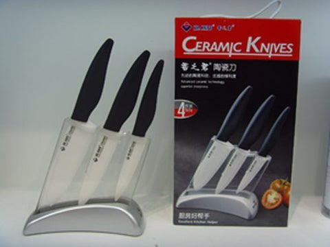 "Zhuhai Premium Ceramic Knife Set Includes 4"" Paring Knife, 5 1/2"" Chef's Knife, 6"" Chef's Knife and Block"