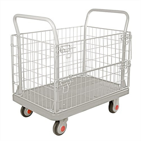 "TruePower Uni-Silent Ultra Silent Platform Truck w/ Wire Mesh / Cage / Crate / Trolley / Cart / Dolly / Utility 1000LBS, 6"" Caster"