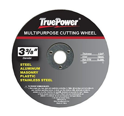 "TruePower 3 Pack 3-3/8"" Multi Function / Purpose Cut Off Wheel, One Blade Cuts All"