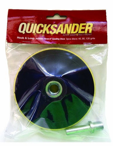 QuickSander Hook & Loop Mount Drill Pad with 5 inch Sanding Discs: 40, 80 & 120 Grit for Sanding on Paint, Wood, Metal & many other Surfaces