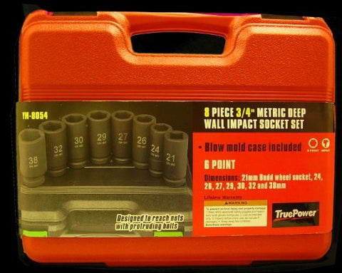 "8pc 3/4"" Metric Heavy Duty Deep Wall Impact Socket Set by TruePower Tools"