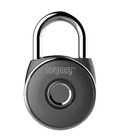 NetBolt Smart Padlock, Metal Waterproof, Suitable for House Door, Suitcase, Backpack, Gym, Bike, Office, APP is Suitable for Android/iOS, Support USB Charging (Satin Black)