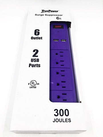 TruePower 6 Outlet Surge Protector w/Dual USB Ports & 6' Cord -Purple