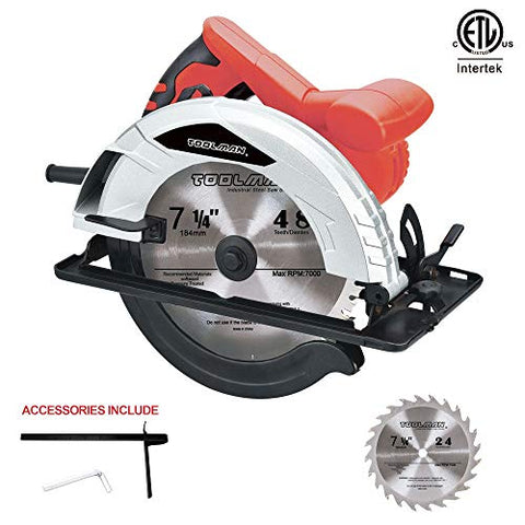 "Toolman 10 Amp 7-1/4"" Circular Saw with 2 blades"
