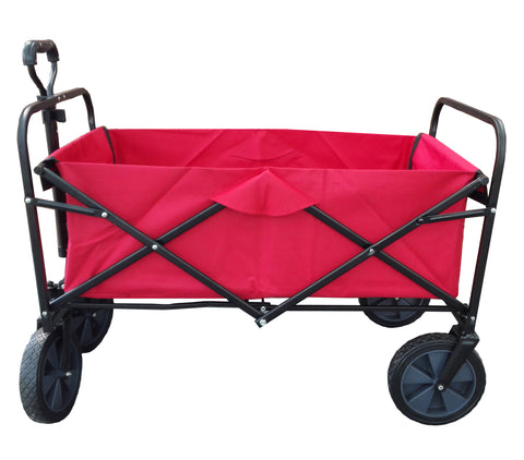 XL Foldable Garden Trolley Cart Wagon Truck 4 WHeel Pull Along Wheelbarrow RED