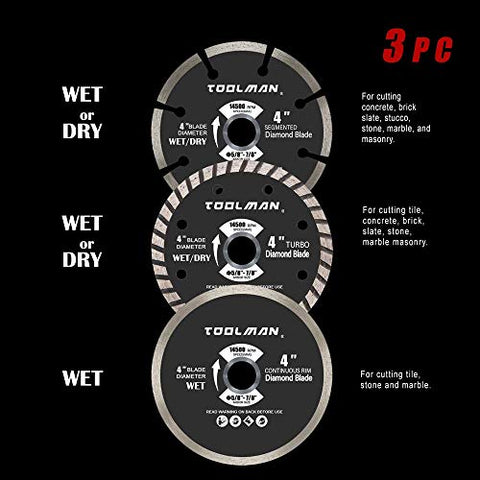"Toolman Circular Saw Blades Universal Fit 3Pc set 4"" Diamond Masonry for Tile Marble Concrete brick works"