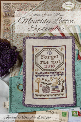 Letters from Mom - September Cross Stitch Chart - Jeannette Douglass Designs