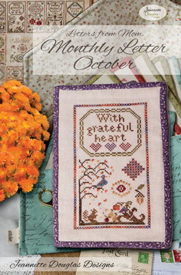 Letters from Mom - October Cross Stitch Chart - Jeannette Douglas Designs