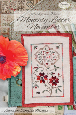 Letters from Mom - November Cross Stitch Chart - Jeannette Douglass Designs