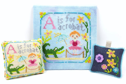 A is for Acrobat - Happy Alphabet #1 - Cross Stitch Design by Tiny Modernist