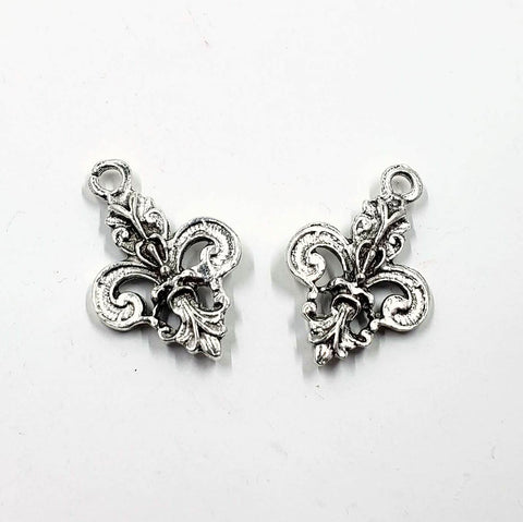 Double-Sided Silver-Plated Pewter Fleur de Lis Charm