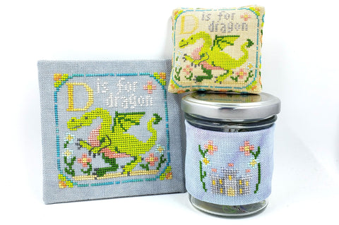 D is for Dragon - Happy Alphabet #4 - Cross Stitch Design by Tiny Modernist