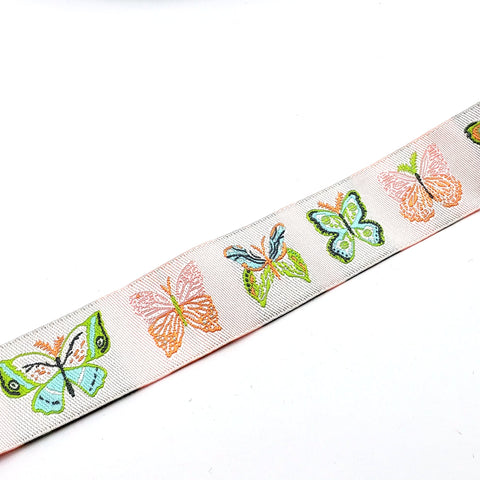 Pink Butterfly Woven Ribbon