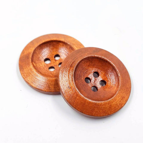 Large Wood Button Pair