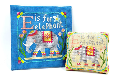 E is for Elephant - Happy Alphabet #5 - Cross Stitch Design by Tiny Modernist