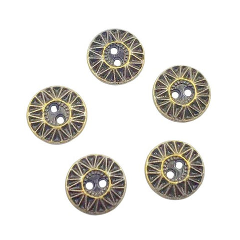 Sunburst Antique-Brass-Finished Pewter Buttons