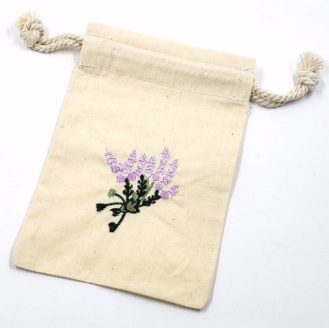 Embroidered Lavender Cotton Pouch