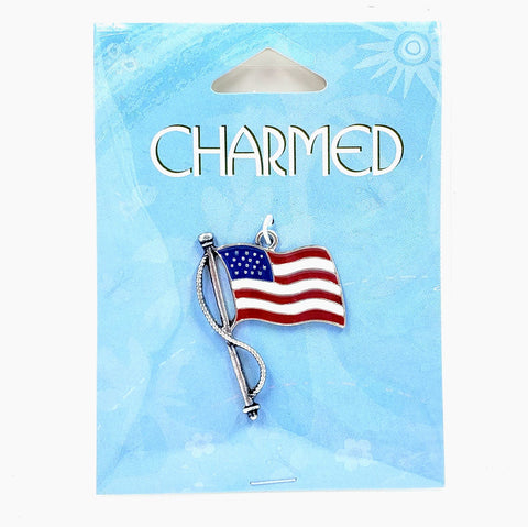 Large Flag Focal - Enamel and Silver-Finished Pewter
