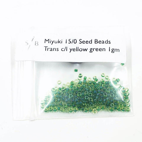 Miyuki 15/0 Seed Beads - Transparent Color-Lined Yellow Green