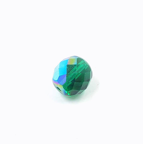 10mm Czech Faceted Round - Transparent AB Green