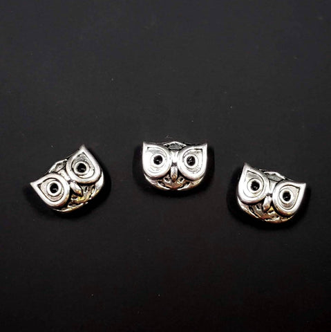 Double-Sided Pewter Owl Bead