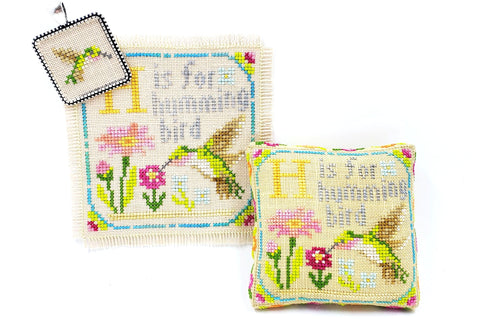 H is for Hummingbird - Happy Alphabet #8 - Cross Stitch Design by Tiny Modernist