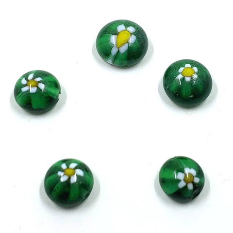 Millefiori Domed Green and White Flower Beads