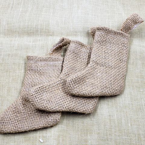 Mini Burlap Christmas Stocking