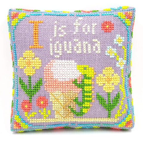 I is for Iguana - Happy Alphabet #9 - Cross Stitch Design by Tiny Modernist