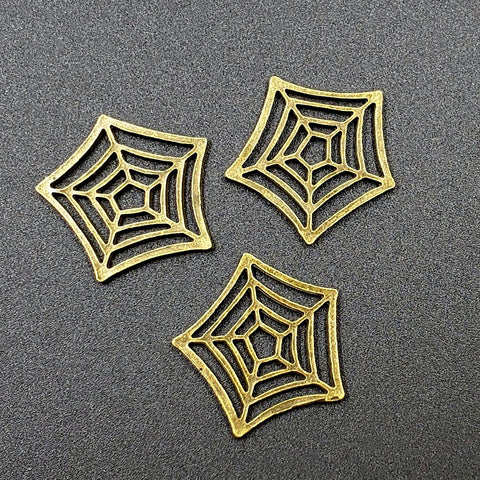 Brass-Finished Pewter Spiderweb Sew-On Embellishment